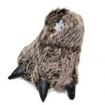 Millffy Funny Slippers Grizzly Bear Stuffed Animal Claw Paw Slippers Toddlers Costume Footwear (Medium - (Women's Size), Grey Timber Wolf)
