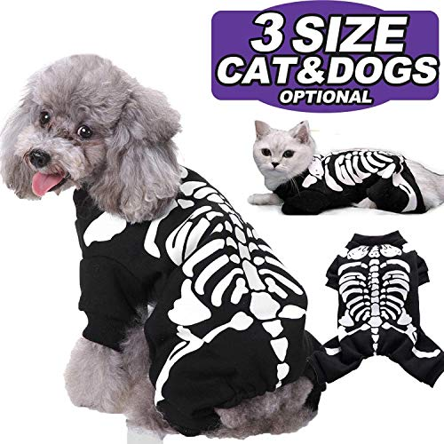 AMENON Halloween Costumes Pets Dogs Cats Skeleton Pets Costume for Small Medium Large Dogs Halloween Party Pet Shirt Cosplay Hoodies Dress Up Funny Pet Clothes Kitten Puppy Apparel (Medium)