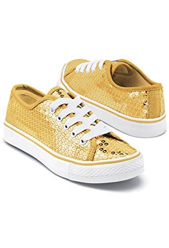 Balera Sequin Low Top Dance Sneakers Gold 9AM