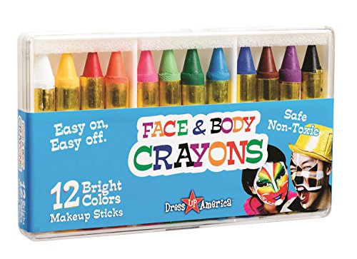 Dress-Up-America Face Paint Kit – Safe, Non-Toxic, Face and Body Paint Crayons Made in Taiwan – Halloween Makeup Face Painting Kit for Kids and Adults (12 piece set)