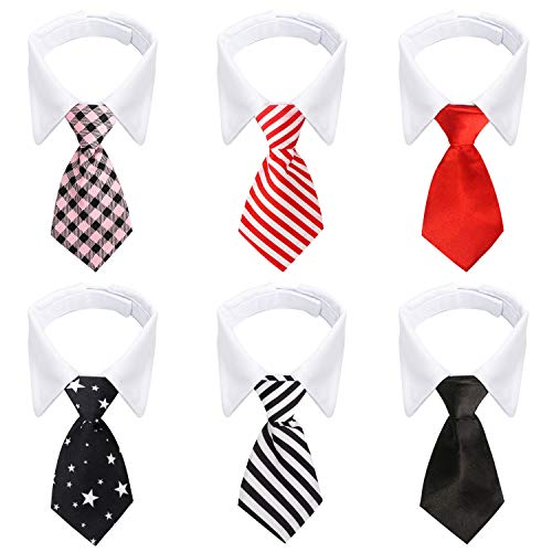 Neckties for Cats, 6pcs Formal Classy Pet Neck Ties, Suit White Cat Collar with Black Red Pink Tie, Tuxedo Bow Tie Collar for Small Dogs Puppies Cat Wedding Costumes Grooming Accessories Birthday Gift