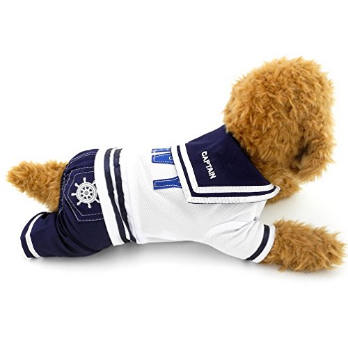 PEGASUS SELMAI Boy Navy Captain Costume Jumpsuit Sailor Outfits for Small Dog Cat Puppy Tee Shirts with Pants Chihuahua Clothes S