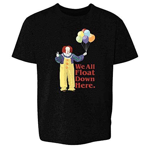 Pop Threads Clown Float Down Here Minimalist Horror Costume Black L Youth Kids Girl Boy T-Shirt