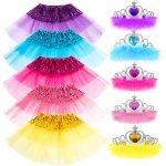 Princess Dress up Accessories 10 Pieces Girl Gift Set Tutu Dress Belle Elsa Party Favors Costume for Girls