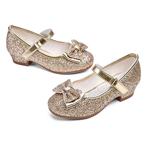 STELLE Girls Mary Jane Glitter Shoes Low Heel Princess Flower Wedding Party Dress Pump Shoes for Kids Toddler(ST08-Gold, 8MT)