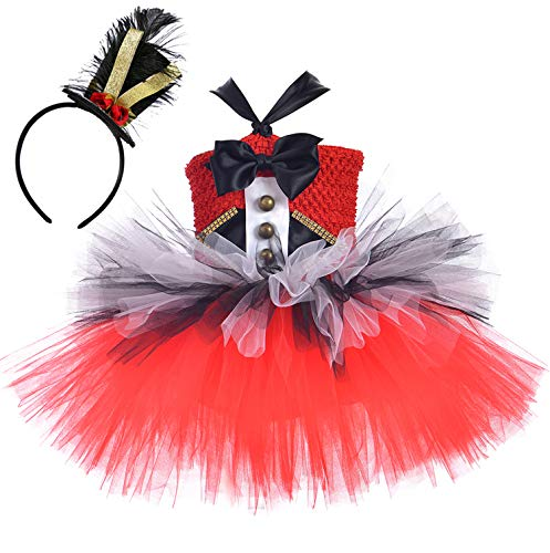 Tutu Dreams Ringmaster Costume for Girls Vintage Red Tutu Outfit Clown Lion Tamer Dress Up Christmas Halloween (Ringmaster, 8-9 Years)