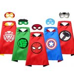 VOSOE Superhero Capes 5 Sets with Masks Cosplay Costumes Birthday Party Christmas Halloween Dress up Gift for Kids (Hulk 5 Sets)