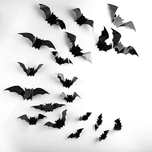 DANTENG 80 PCS Halloween Decorations 3D Scary Bats Wall Stickers for Home Window Decor Art Wall Decals Party Supplies