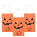 MISS FANTASY Halloween Bags for Kids Jack O Lantern Bags Kids Halloween Bags Large Pumpkin Bags Trick or Treat Bags for Halloween Party, Pack of 12(Orange Pumpkins)