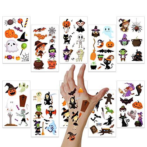Halloween Temporary Tattoos, 10 Sheets Assorted Halloween Tattoo Waterproof Cute Designs Stick on Children Tattoos, Pumpkin Tattoos Stickers for Kids Children Party Favors