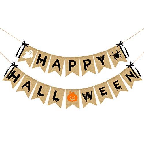 Happy Halloween Burlap Banner- Halloween Bunting Banner with Pumpkin Spider Ghost Sign for Halloween Party Decorations,Halloween Party Banner for Mantle Decor