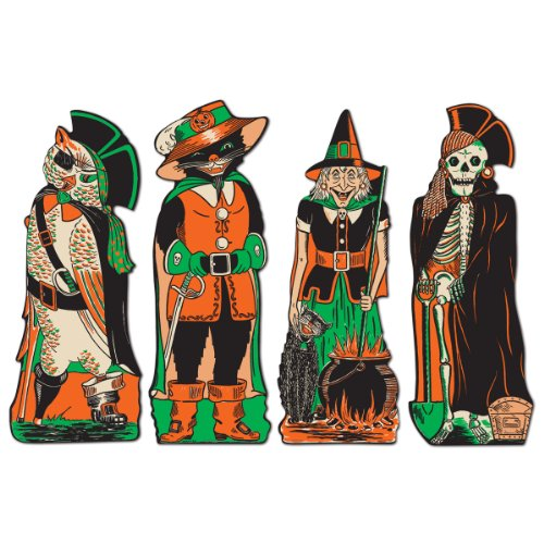 Beistle 01181 Vintage Halloween Fanci-Dress Cutouts, 4 Piece, Multicolored