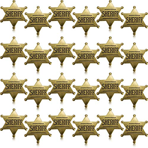 WILLBOND 24 Pieces Metal Sheriff Badge Bronze Western Cowboy Badge Deputy Sheriff's Toy Badges for Halloween and Party Favors Costume Prop(24 Pieces)