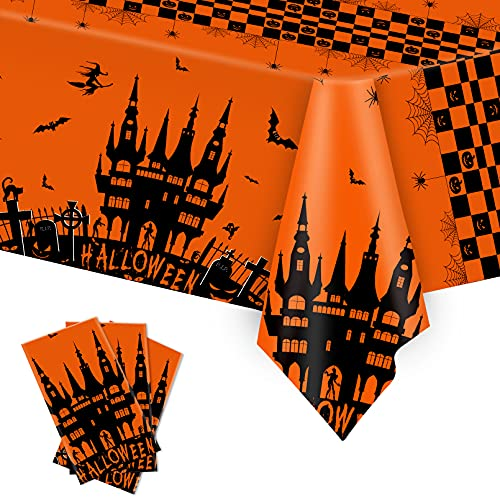 Halloween Tablecloth, 3 Pack Large Haunted Table Cover for Halloween Parties, Scary Plastic Haunted House Table Cloth for Halloween Decorations Indoor Outdoor Home Dinner Parties, 54×108 inch-Orange